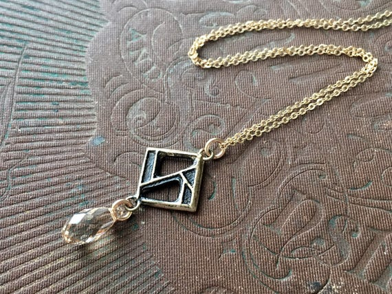 Crystal Drop Necklace, Bronze Pendant, Gold Chain Necklace, Architectural Jewelry