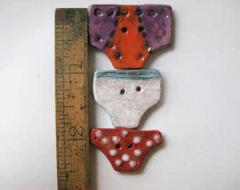 Set of 3 Tiny Undie Ceramic Buttons