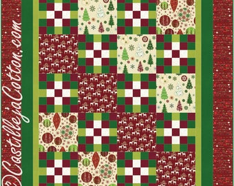 Cross Ways Quilt ePattern, 4813-1e, Lap quilt pattern, christmas lap quilt, hoffman Oh What Fun fabrics
