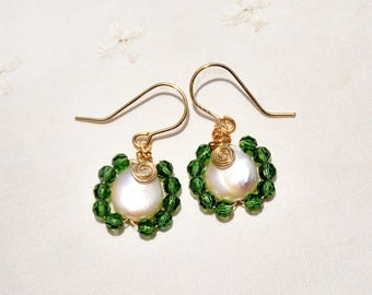Flat Pearl Earrings. Gold Filled Earrings Pearl+ Green Crystal Beads. Single Pearl Earrings. Pearl Jewelry Gold Filled Jewelry Free Shipping