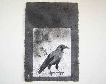 Caged Crow No. 8 – Pulp Painting on Handmade Abaca/Cotton Paper with feathers and gold foil inclusions (2016), Item No. 243.08