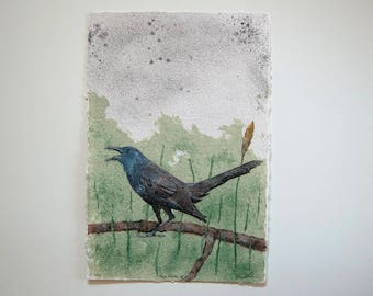 Angry Grackle No. 1 – pulp painting on handmade abaca/cotton/daylily paper (2017), Item No. 256.01