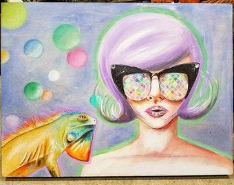 24-in x 18-in Original Painting- kaleidoscope glasses girl and iguana