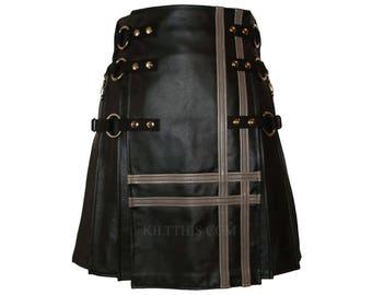 Interchangeable Black Leather Grey Leather Double Cross Kilt Handmade Custom Fit Adjustable Cowhide