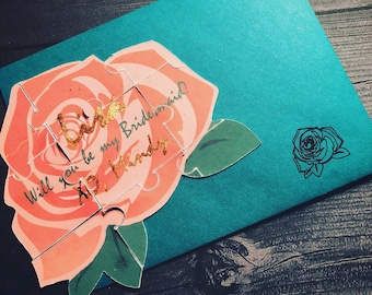 Will you be my Bridesmaid Rose Puzzle with Rose Gold Accents.  Perfect Bridesmaid Proposal