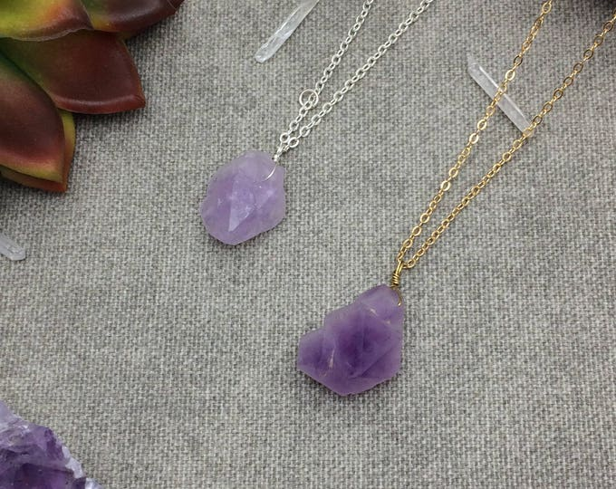 Amethyst Lavender Raw Crystal Necklace, Crystal Necklace, Druzy Necklace, Raw Crystal Purple Gemstone Necklace, February Birthstone Necklace