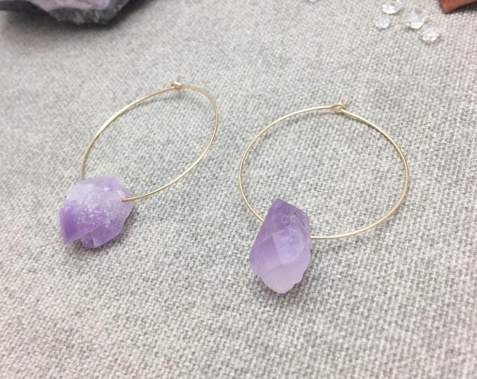 Raw Amethyst Hoop Earrings