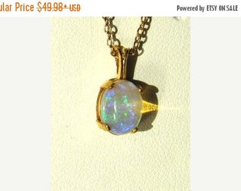 Summer time Sale Event Ethiopian Welo Opal 8x6 14k gold fill cabochon pendant necklace free 18inch chain handmade fine jewelry genuine white