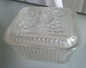 Federal Glass Refrigerator Storage Box, Ribbed Glass Container, Vintage Kitchen, Storage, Fruit Design, Heavy Duty Glass Container