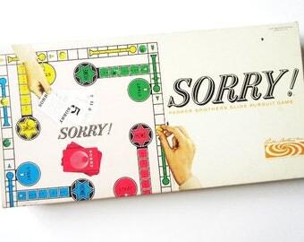Sorry! Parker Brothers Slide Pursuit Game, Vintage 1964 Complete Excellent