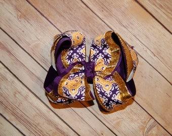 Ssd Lsu Purple & Gold Scroll Triple Hair Bow