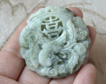 Carving birds Lucky Jade Pendant Beads ,jade gemstone pendant ,Carved birds Jade Pendant,stone beads pendant