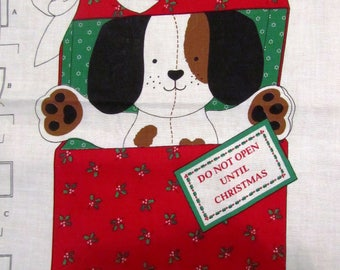 """ViNTAGE CHRiSTMAS PUPPY Easy Cut and Sew Fabric Panel 35"""" x 43"""""""