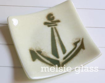 Anchor neutral glass anything dish, cream-colored glass, nautical