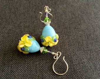 Floral Blue Egg Earrings, Glass Bead Earrings, Artisan Drop Earrings, Yellow Flower Cone Earrings, Gift Idea, Glass Bead Lampwork Jewelry