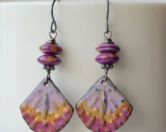 Purple Earrings, Fan Earrings, OOAK Art Bead Earrings, Dyed Bone Earrings, Boho Earrings, Colorful Earrings, Summer Fun Earrings