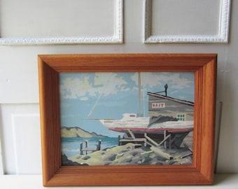 Vintage Sailboat Paint By Number Painting - Nautical Decor - Framed Seascape Ocean Painting - Sailboat Art - Coastal Decor - Beachy Decor