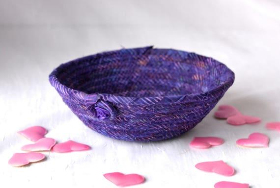 Fun Ring Basket, Handmade Purple Bowl, Candy Dish, Purple Cotton Basket, Boho Chic Fabric Bowl, Rustic Violet Change Bowl