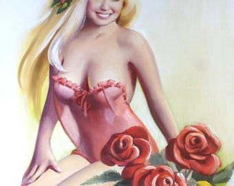 Rose Ann pinup girl 30x24 (76 x 61 cm) oils on canvas painting by artist RUSTY RUST / 1588