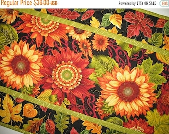 Sale Christmas in July Autumn Table Runner, Sunflowers,  handmade table runner, quilted, fall leaves, focus fabric from Henry Glass