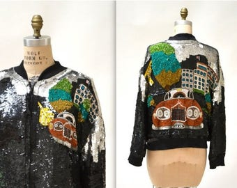 SALE Vintage Sequin Jacket Black with Rolls Royce// Vintage Black Sequin Bomber Jacket Size Small Medium By Lillie Rubin for Neiman Marcus