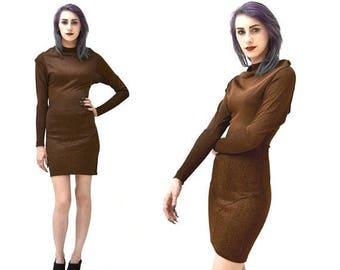SALE 80s 90s Vintage Alaia Dress knit size XS Small// Brown Black Knit Alaia Dress Body Con size XS small