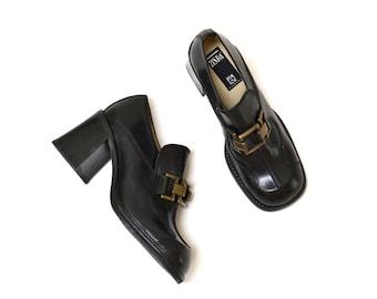 Vintage 90s Black High Heel Shoes Chunky Heel Shoes Buckle Vintage Black Leather Heels Size 9 9 1/2 Minimalist By Zinda Made In Spain