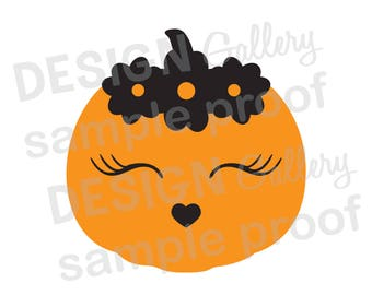 Pumpkin Face Flowers Eye Lashes Heart Nose - SVG, dxf cut & JPG, png image files - Fall Halloween Thanksgiving - Printable Digital Iron On