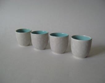 Poole Pottery England mid century vintage ceramic egg cups set of 4 robins egg blue mottled white