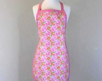 Waterproof Womens Apron Plus Size Apron in Pink and Orange Flowers