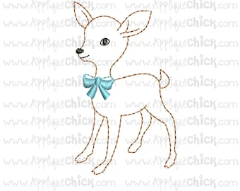 Vintage Deer Embroidery Design, Fawn Embroidery, Faux Hand Embroidery
