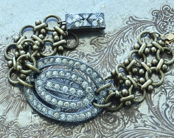 One Of A Kind Vintage Assemblage Art Deco Bracelet - Upcycled Recycled Repurposed Jewelry