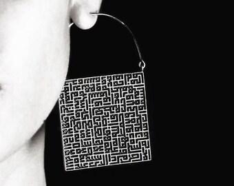 Square Earrings White Brass - Hoop Earrings - Big Hoops - Square Earrings - Statement Jewelry
