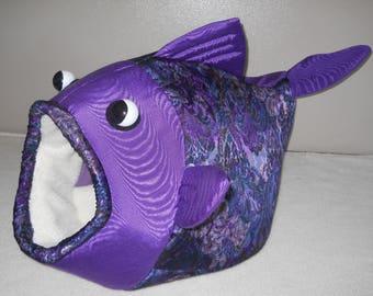 Fish Shaped Pet Bed Purple Textured Purple Head Fabric