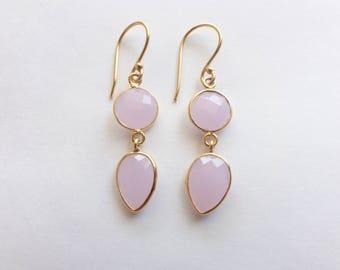 Step-Cut Faceted Pink Chalcedony Vermeil Bezel Drop Dangle Earrings (E1285)