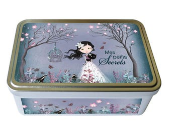 "Box metal deco ""My secrets"", girl gift, jewelry storage"
