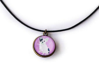 "Reversible necklace ""Bulldog or chickadee"" bottom purple"