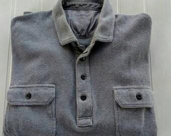 2 Button Front Pocket Shirt, 1980s Long Sleeve Mens Shirt, Big Mens Gray Knit Shirt, Warm Mens 100% Cotton Shirt, Mens Size 2XL, XXL