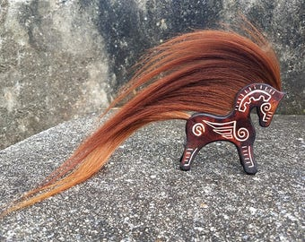 Leather and Horse Hair Totem - Leather Horse Totem - Little Pony Horsehair Jewelry - Special Keepsake