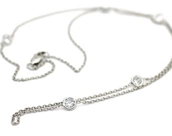 Sterling Silver Cubic Zirconia Diamonds by Yard Style Pendant Necklace