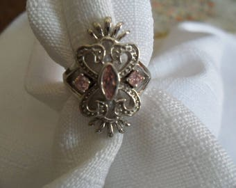 Antique Pink Sapphire Sterling Silver Ring Size 7