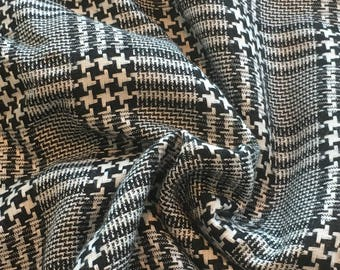 """Vintage Black and White Houndstooth Plaid Polyester Blend Fabric 61"""" Wide PRICE PER YARD- black and white plaid fabric, plaid fabric"""