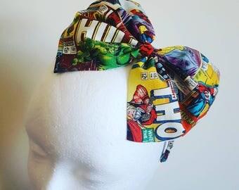 Superhero hairband, dolly bow, comic print hairband, rockabilly headband, pinup hairband, big bow hairband, superhero headband, geek gift