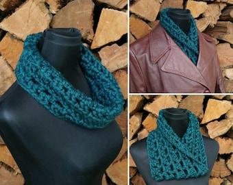 Chunky knit neck warmer - READY TO SHIP - cowl, infinity scarf, acrylic, dark teal, blue-green, crochet scarf, machine washable