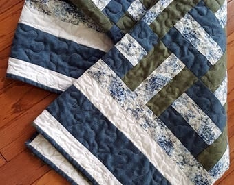 Quilted Throw or Lap Quilt, Futon Topper, Toile Fabric with Sage and Blue, use as a Ladder Hanging, Country Charm with Geometric Pattern