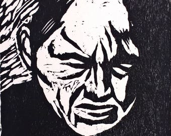 After This Comes the Night - PORTRAIT WOODCUT PRINT