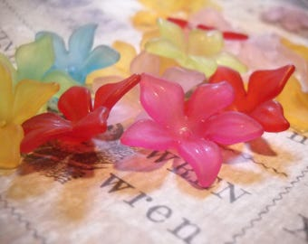 Acrylic Flower Beads Hibiscus Beads Large Flower Beads Assorted Beads Big Beads Frosted Beads Assorted Flower Bead 29mm 10 pieces