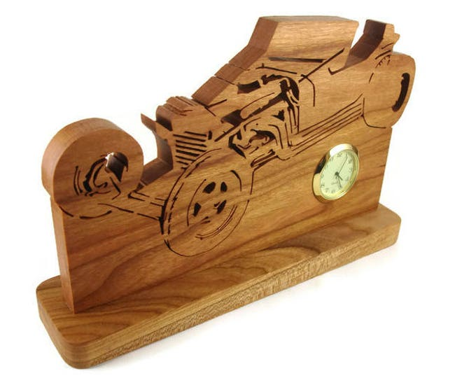 1923 Ford T Bucket Desk Or Shelf Clock Handmade From Cherry Wood By KevsKrafts, Desk Decor, Office Decor, Wood Art