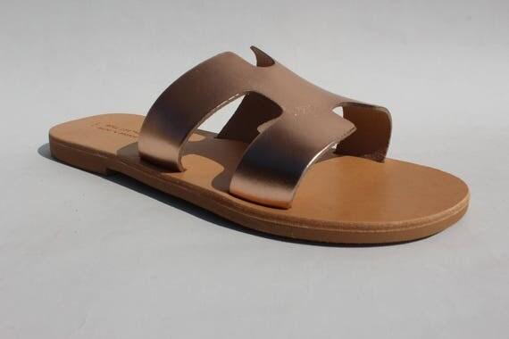 Greek sandals . leather sandals metallic sandals brown sandals,  Sandals, Flat Sandals, Sandales femme