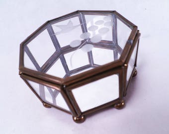 Glass and Brass Octagon Curio Display Box Vintage 80s
